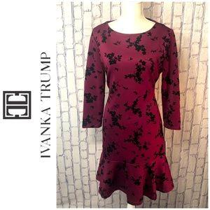 NWT Ivanka Trump Forest Dress, Burgundy/Black, 10